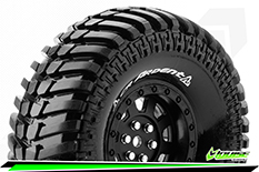 "Louise RC - CR-ARDENT - 1-10 Crawler Tire Set - Mounted - Super Soft - Black 1.9"" Rims - Hex 12mm - 1 Pair"