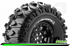 "Louise RC - CR-ROWDY - 1-10 Crawler Tire Set - Mounted - Super Soft - Black 1.9"" Rims - Hex 12mm - 1 Pair"