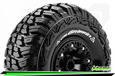"Louise RC - CR-GRIFFIN - 1-10 Crawler Tire Set - Mounted - Super Soft - Black 2.2"" Rims - Hex 12mm - 1 Pair"