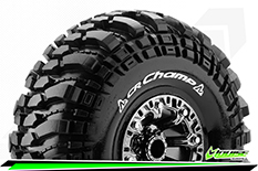 "Louise RC - CR-CHAMP - 1-10 Crawler Tire Set - Mounted - Super Soft - Black Chrome 2.2"" Rims - Hex 12mm - 1 Pair"