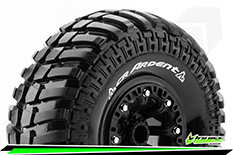 """Louise RC - CR-ARDENT - 1-10 Crawler Tire Set - Mounted - Super Soft - Black 2.2"""" Rims - Hex 12mm - 1 Pair"""