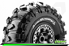 "Louise RC - CR-ROWDY - 1-10 Crawler Tire Set - Mounted - Super Soft - Black Chrome 2.2"" Rims - Hex 12mm - 1 Pair"