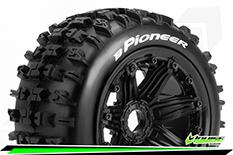 Louise RC - B-PIONEER -  1-5 Buggy Tire Set - Mounted - Sport - Black Bead-Lock Wheels - Hex 24mm - Rear - L-T3243B