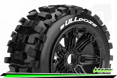 Louise RC - B-ULLDOZE -  1-5 Buggy Tire Set - Mounted - SPORT - Black Rims - Hex 24mm - Rear - 1 Pair