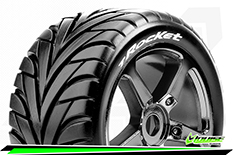 Louise RC - T-ROCKET - 1-8 Truggy Tire Set - Mounted - Soft - Black-Chrome Spoke Rims - 0-Offset - Hex 17mm - 1 Pair
