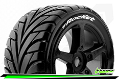 Louise RC - T-ROCKET - 1-8 Truggy Tire Set - Mounted - Soft - Black Spoke Rims - 0-Offset - Hex 17mm - 1 Pair