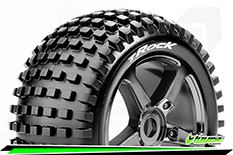 Louise RC - T-ROCK - 1-8 Truggy Tire Set - Mounted - Soft - Black-Chrome Spoke Rims - 0-Offset - Hex 17mm - 1 Pair