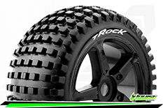 Louise RC - T-ROCK - 1-8 Truggy Tire Set - Mounted - Soft - Black Spoke Rims - 0-Offset - Hex 17mm - 1 Pair