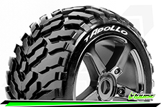 Louise RC - T-APOLLO - 1-8 Truggy Tire Set - Mounted - Soft - Black-Chrome Spoke Rims - 0-Offset - Hex 17mm - 1 Pair