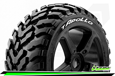 Louise RC - T-APOLLO - 1-8 Truggy Tire Set - Mounted - Soft - Black Spoke Rims - 0-Offset - Hex 17mm - 1 Pair