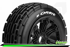 Louise RC - B-ORBIT - 1-5 Buggy Tire Set - Mounted - SPORT - Black Rims - Hex 24mm - Front - 1 Pair