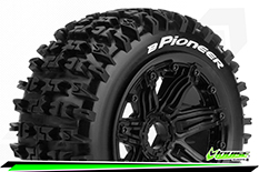 Louise RC - B-PIONEER -  1-5 Buggy Tire Set - Mounted - SPORT - Black Rims - Hex 24mm - Front - 1 Pair