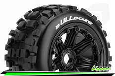 Louise RC - B-ULLDOZE -  1-5 Buggy Tire Set - Mounted - SPORT - Black Rims - Hex 24mm - Front - 1 Pair