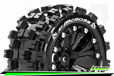 Louise RC - ST-MCROSS - 1-10 Stadium Truck Tire Set - Mounted - Sport - Black 2.8 Wheels - 1/2-Offset - Hex 12mm - L-T3272SBH