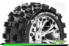 Louise RC - ST-MCROSS - 1-10 Stadium Truck Tire Set - Mounted - Sport - Chrome 2.8 Wheels - 0-Offset - Hex 12mm - L-T3272SC