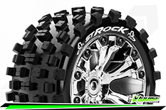 Louise RC - ST-ROCK - 1-10 Stadium Truck Tire Set - Mounted - Sport - Chrome 2.8 Wheels - 1/2-Offset - Hex 12mm - L-T3273SCH