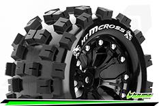 Louise RC - MT-MCROSS - 1-10 Monster Truck Tire Set - Mounted - Sport - Black 2.8 Wheels - 0-Offset - Hex 12mm - L-T3274SB