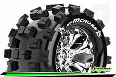 Louise RC - MT-MCROSS - 1-10 Monster Truck Tire Set - Mounted - Sport - Chrome 2.8 Wheels - 0-Offset - Hex 12mm - L-T3274SC