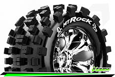 Louise RC - MT-ROCK - 1-10 Monster Truck Tire Set - Mounted - Sport - Chrome 2.8 Wheels - 1/2-Offset - Hex 12mm - L-T3275SCH