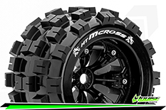 Louise RC - MT-MCROSS - 1-8 Monster Truck Tire Set - Mounted - Sport - Felgen 3.8 Schwarz - 0-Offset - Hex 17mm - L-T3276B