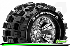 Louise RC - MT-MCROSS - 1-8 Monster Truck Tire Set - Mounted - Sport - Felgen 3.8 Chrom - 0-Offset - Hex 17mm - L-T3276C