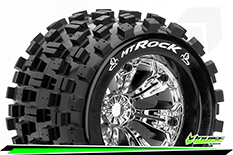 Louise RC - MT-ROCK - 1-8 Monster Truck Tire Set - Mounted - Sport - Felgen 3.8 Chrom - 0-Offset - Hex 17mm - L-T3277C