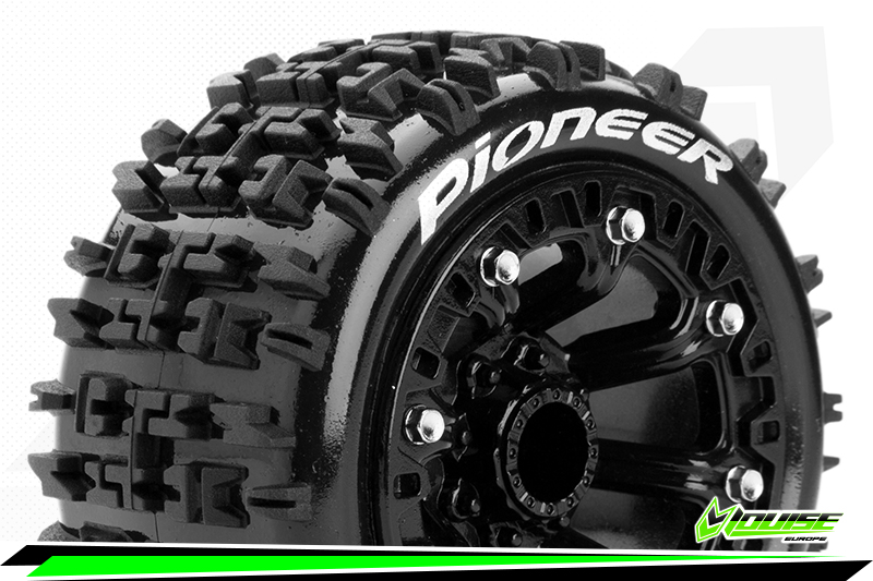 """Louise RC - ST-PIONEER - 1-16 Truck Tire Set - Mounted - Soft - Black 2.2"""" Rims - REVO - SUMMIT - Savage XS Flux - Front - Rear - 1 Pair"""