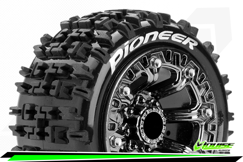 """Louise RC - ST-PIONEER - 1-16 Truck Tire Set - Mounted - Soft - Black Chrome 2.2"""" Rims - REVO - SUMMIT - Savage XS Flux - Front - Rear - 1 Pair"""