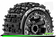 "Louise RC - ST-PIONEER - 1-16 Truck Tire Set - Mounted - Soft - Black Chrome 2.2"" Rims - REVO - SUMMIT - Savage XS Flux - Front - Rear - 1 Pair"