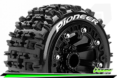 "Louise RC - ST-PIONEER - 1-16 Truck Tire Set - Mounted - Soft - Black 2.2"" Rims - REVO - SUMMIT - Savage XS Flux - Front - Rear - 1 Pair"