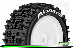 Louise RC - E-PIONEER - 1-10 Buggy Tire Set - Mounted - Soft - White Wheels - Hex 12mm - Rear - L-T3278SWKR