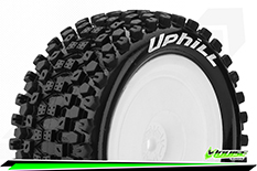 Louise RC - E-UPHILL - 1-10 Buggy Tire Set - Mounted - Soft - White Rims - Kyosho HEX 12mm - 4WD - Rear - 1 Pair