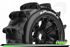 Louise RC - B-PADDLE -  1-5 Buggy Tire Set - Mounted - SPORT - Black Rims - Hex 24mm - Rear - 1 Pair