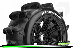 Louise RC - B-PADDLE -  1-5 Buggy Tire Set - Mounted - Sport - Black Bead-Lock Wheels - Hex 24mm - Rear - L-T3280B