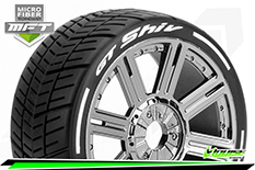 Louise RC - GT-SHIV - MFT Technology - 1-8 Buggy Tire Set - Mounted - Soft  - Black-Chrome Spoke Rims - Hex 17mm - 1 Pair