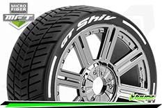 Louise RC - MFT - GT-SHIV - 1-8 Buggy Tire Set - Mounted - Soft  - Black Chrome Spoke Wheels - Hex 17mm - L-T3284SBC