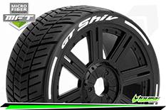Louise RC - MFT - GT-SHIV - 1-8 Buggy Tire Set - Mounted - Super Soft  - Black Spoke Wheels - Hex 17mm - L-T3284VB