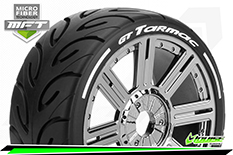 Louise RC - GT-TARMAC - MFT Technology - 1-8 Buggy Tire Set - Mounted - Soft  - Black-Chrome Spoke Rims - Hex 17mm - 1 Pair