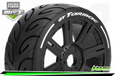 Louise RC - MFT - GT-TARMAC - 1-8 Buggy Tire Set - Mounted - Soft  - Black Spoke Wheels - Hex 17mm - L-T3285SB