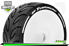Louise RC - GT-TARMAC - MFT Technology - 1-8 Buggy Tire Set - Mounted - Soft  - White Rims - Hex 17mm - 1 Pair