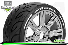 Louise RC - MFT - GT-TARMAC - 1-8 Buggy Tire Set - Mounted - Super Soft  - Black Chrome Spoke Wheels - Hex 17mm - L-T3285VBC