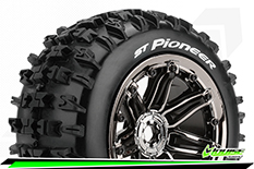 "Louise RC - ST-PIONEER - 1-8 Stadium Truck Tire Set - Sport - screwed on black chrome 3.8"" Beadlock rims - E-REVO - E-Maxx - Summit - ARRMA Stadium Trucks - HPI Savage - Front - Rear - 1 Pair"