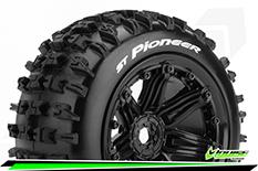 "Louise RC - ST-PIONEER - 1-8 Stadium Truck Tire Set - Sport - screwed on black 3.8"" Beadlock rims - E-REVO - E-Maxx - Summit - ARRMA Stadium Trucks - HPI Savage - Front - Rear - 1 Pair"