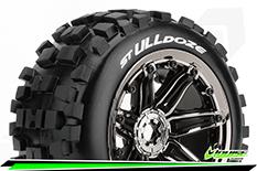 "Louise RC - ST-ULLDOZE - 1-8 Stadium Truck Tire Set - Sport - screwed on black chrome 3.8"" Beadlock rims - E-REVO - E-Maxx - Summit - ARRMA Stadium Trucks - HPI Savage - Front - Rear - 1 Pair"