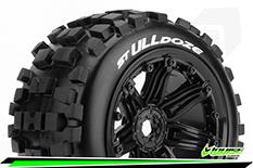 "Louise RC - ST-ULLDOZE - 1-8 Stadium Truck Tire Set - Sport - screwed on black 3.8"" Beadlock rims - E-REVO - E-Maxx - Summit - ARRMA Stadium Trucks - HPI Savage - Front - Rear - 1 Pair"