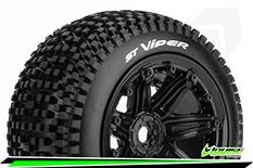 "Louise RC - ST-VIPER - 1-8 Stadium Truck Tire Set - Sport - screwed on black 3.8"" Beadlock rims - E-REVO - E-Maxx - Summit - ARRMA Stadium Trucks - HPI Savage - Front - Rear - 1 Pair"