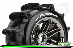 "Louise RC - ST-PADDLE - 1-8 Stadium Truck Tire Set - Mounted - Sport - Black Chrome 3.8"" Beadlock Rims - E-REVO - E-Maxx - Summit - ARRMA Stadium Trucks - HPI Savage - Front - Rear - 1 Pair"