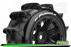 "Louise RC - ST-PADDLE - 1-8 Stadium Truck Tire Set - Mounted - Sport - Black 3.8"" Beadlock Rims - E-REVO - E-Maxx - Summit - ARRMA Stadium Trucks - HPI Savage - Front - Rear - 1 Pair"