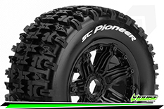 Louise RC - SC-PIONEER - 1-5 Short Course Truck Tire Set - Mounted - SPORT - Black Rims - Hex 24mm - Rear - 1 Pair