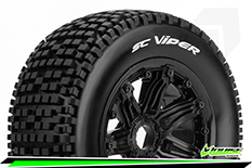 Louise RC - SC-VIPER - 1-5 Short Course Truck Tire Set - Mounted - SPORT - Black Rims - Hex 24mm - Rear - 1 Pair